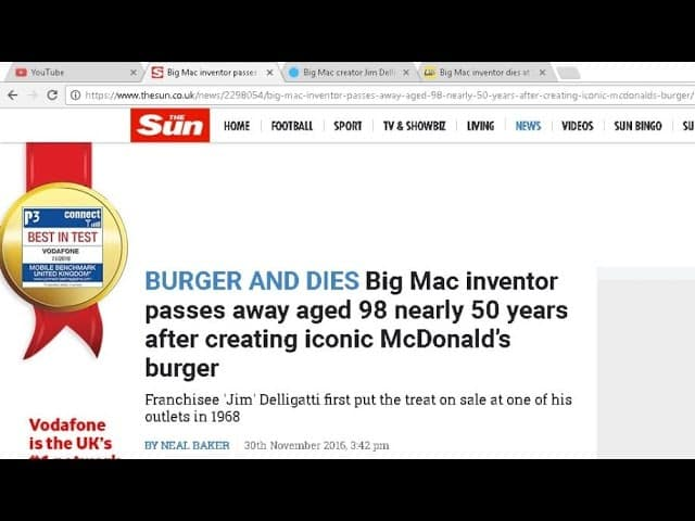 BREAKING NEWS!! Inventor of Big Mac DIES!! 5