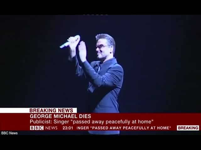 BBC News announces death of pop superstar George Michael 33
