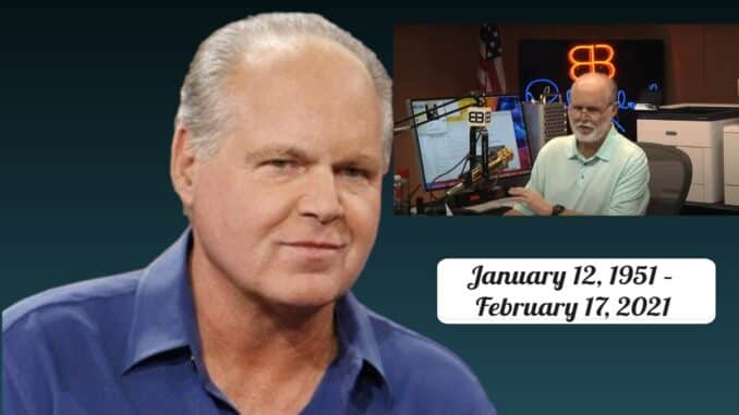 70-year-old Conservative radio host Rush Limbaugh is dead. He died Wednesday, February 17, 2020